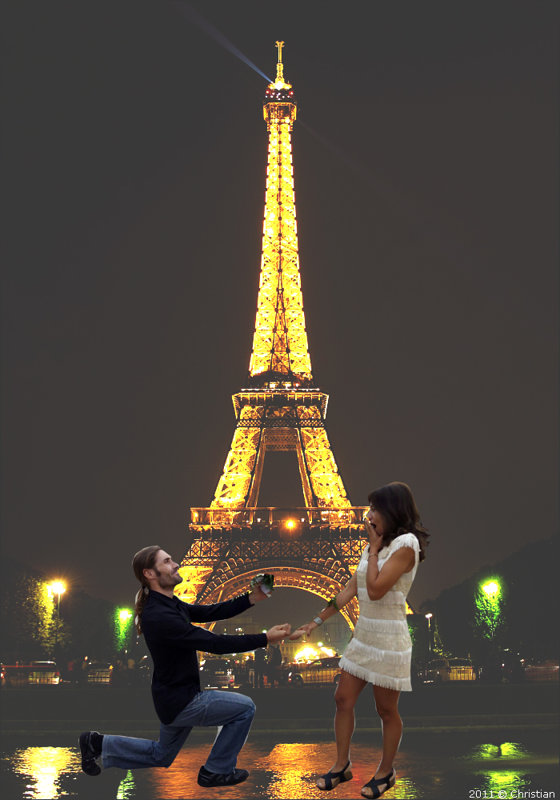 Pedida de mano bajo la Torre Eiffel